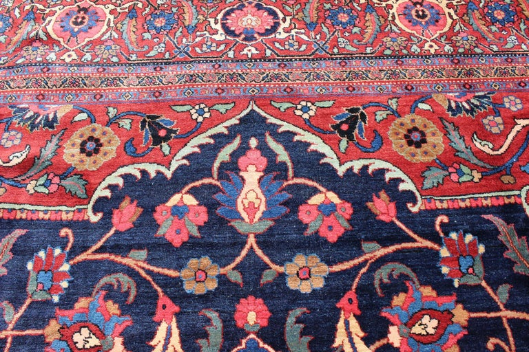 Classic Antique Persian Tabriz Rug with Medallion in Blue and Red For Sale 5