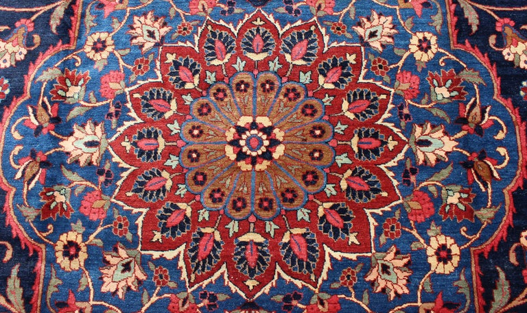 Classic Antique Persian Tabriz Rug with Medallion in Blue and Red For Sale 3