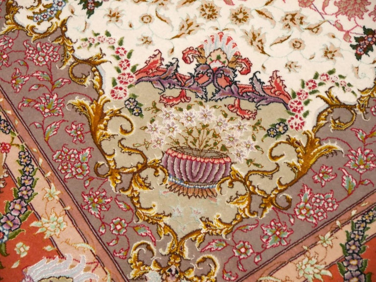 Persian Tabriz Silk and Kurkwool Benam Floral Design Rug For Sale 4