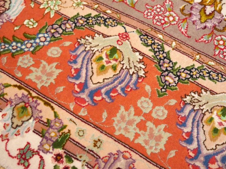 Persian Tabriz Silk and Kurkwool Benam Floral Design Rug For Sale 5