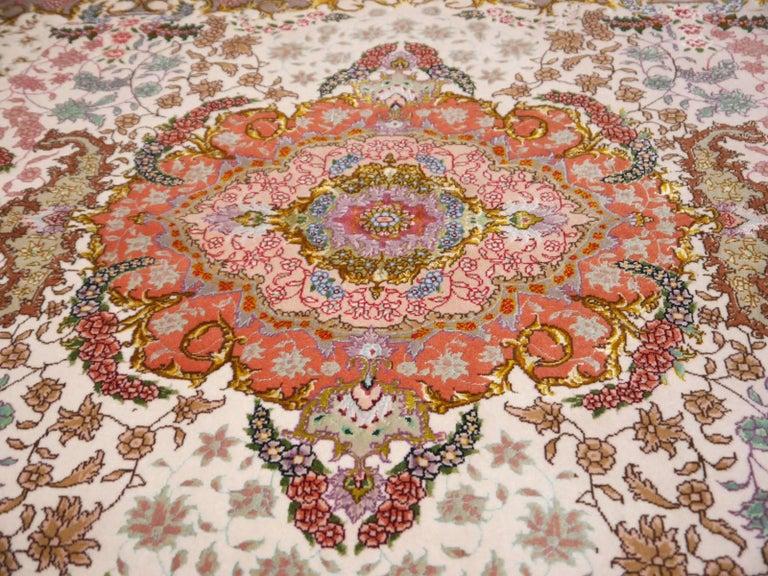 Persian Tabriz Silk and Kurkwool Benam Floral Design Rug For Sale 6