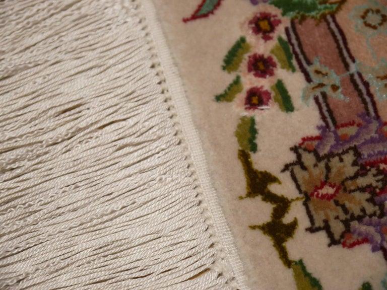 Persian Tabriz Silk and Kurkwool Benam Floral Design Rug For Sale 7