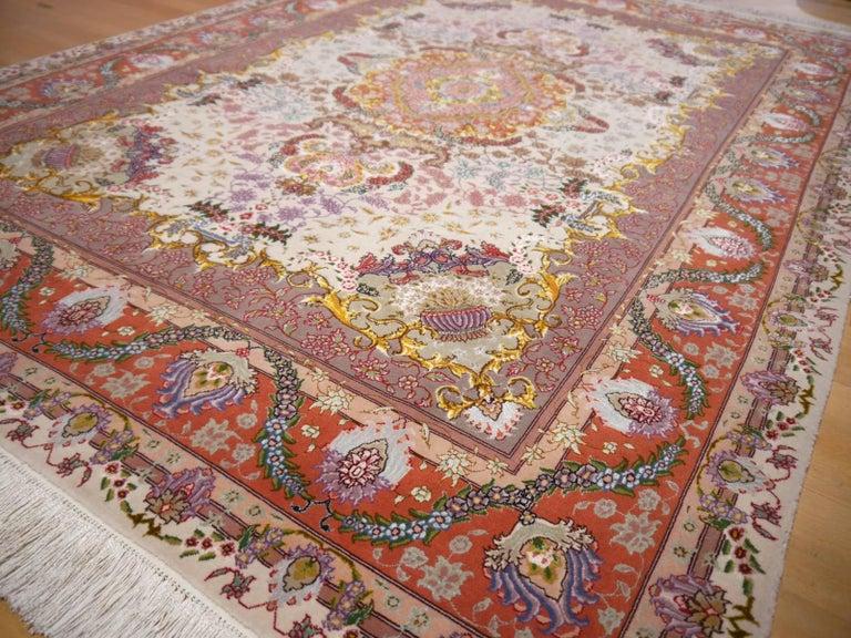 Persian Tabriz Silk and Kurkwool Benam Floral Design Rug For Sale 8