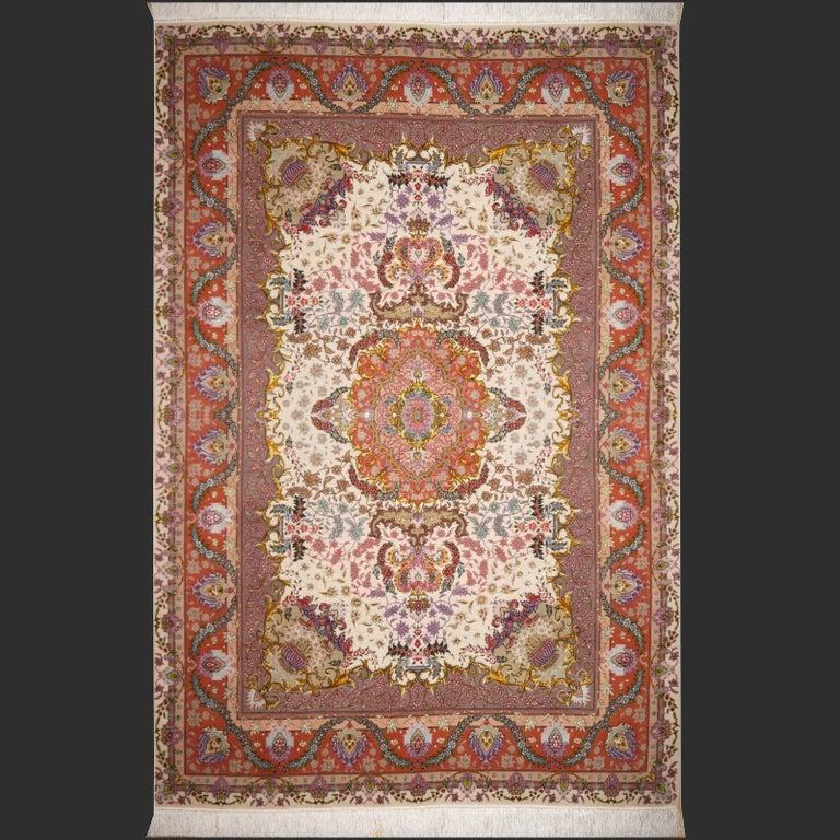 Persian Tabriz Silk and Kurkwool Benam Floral Design Rug For Sale 10