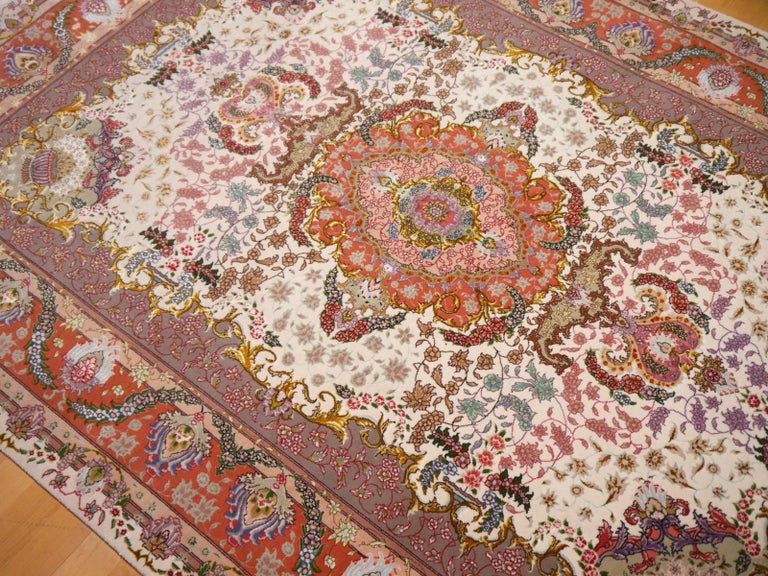 Hand-Knotted Persian Tabriz Silk and Kurkwool Benam Floral Design Rug For Sale