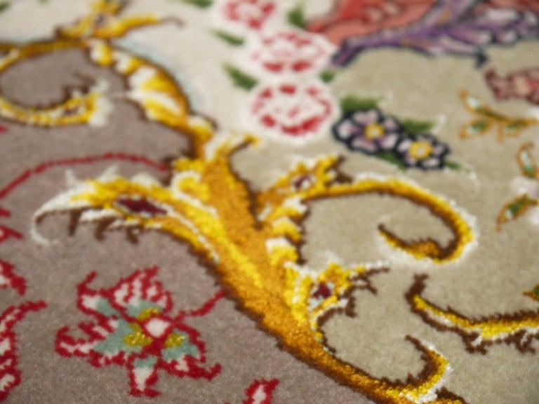 Persian Tabriz Silk and Kurkwool Benam Floral Design Rug In Excellent Condition For Sale In Lohr, Bavaria, DE