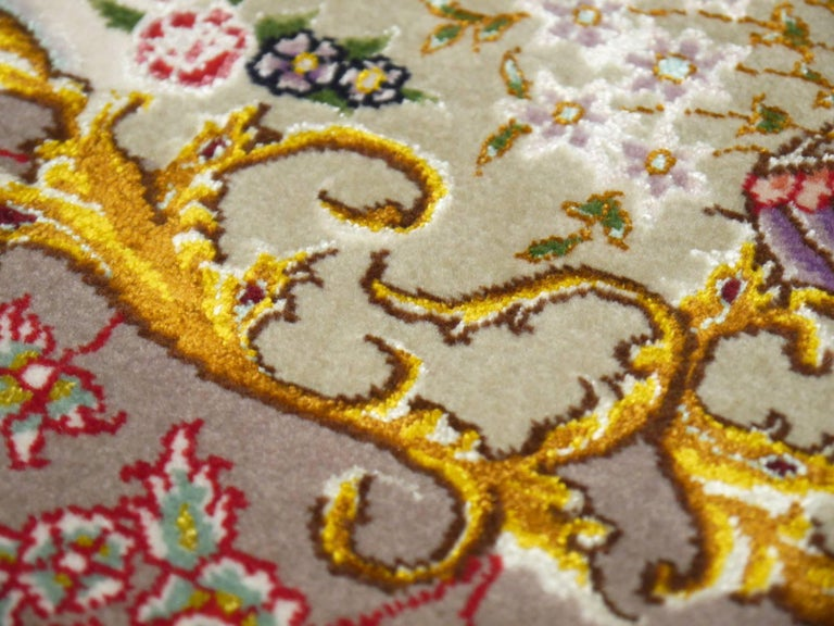 Wool Persian Tabriz Silk and Kurkwool Benam Floral Design Rug For Sale