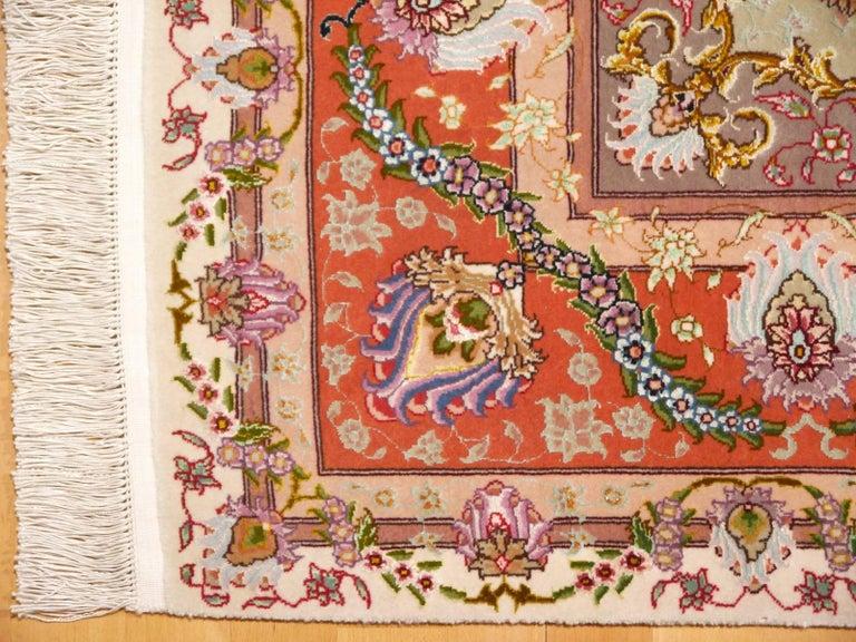 Persian Tabriz Silk and Kurkwool Benam Floral Design Rug For Sale 1
