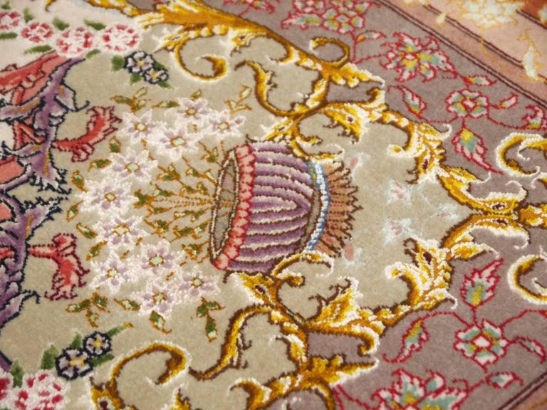 Persian Tabriz Silk and Kurkwool Benam Floral Design Rug For Sale 2