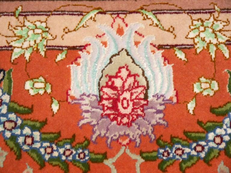 Persian Tabriz Silk and Kurkwool Benam Floral Design Rug For Sale 3