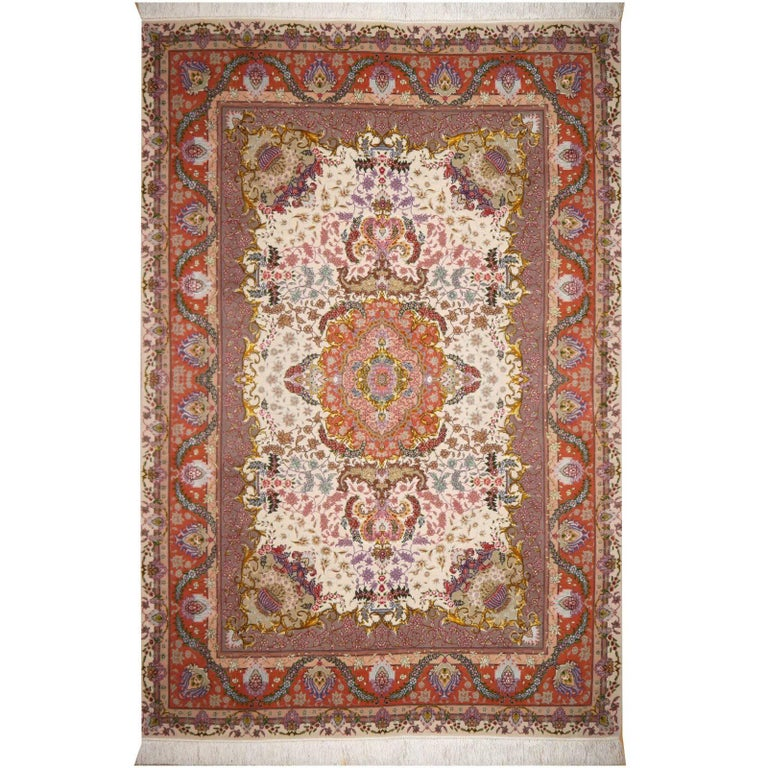 Persian Tabriz Silk and Kurkwool Benam Floral Design Rug