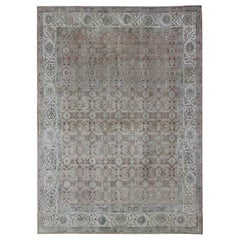 Persian Tabriz with Floral Design in Ivory, Blue, Blush, Brown