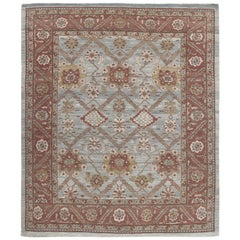 Persian Traditional Bakshaish Hand Knotted Rug in Blue and Rust Colors
