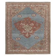 Persian Traditional Bakshaish Handknotted Rug in Blue, Rust, and Camel Color
