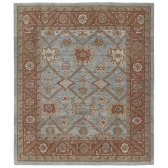 Persian Traditional Bakshaish Handknotted Rug in Pale Blue and Rust Color.
