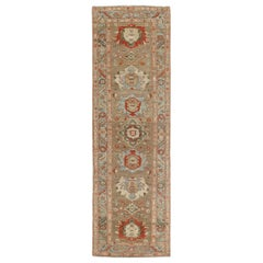Persian Traditional Bakshaish Hand-Knotted Runner in Camel, Blue, Rust Colors