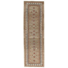 Persian Traditional Bakshaish Hand Knotted Runner in Camel, Blue, Rust Colors
