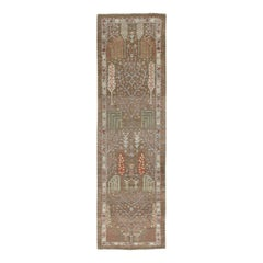 Persian Traditional Bakshaish Handknotted Runner Rug in Camel and Rust Color
