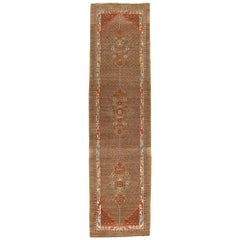 Persian Traditional Bakshaish Hand Knotted Runner Rug in Camel and Rust Color