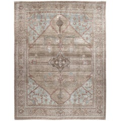 Persian Traditional Bakshaish Handknotted Rug in Camel and Pale Blue Color