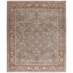 Persian Traditional Bakshaish Handknotted Rug in Camel and Red Color