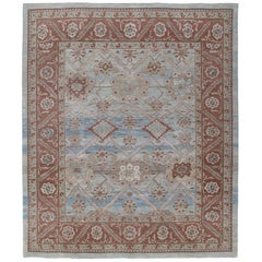 Persian Traditional Bakshaish Handknotted Rug in Pale Blue and Rust Color