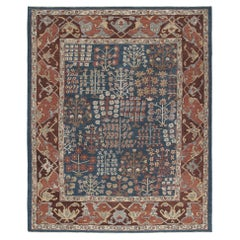 Persian Traditional Kurdish Handknotted Rug in Blue and Rust Color