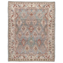 Persian Traditional Kurdish Hand Knotted Rug in Blue, Camel, Rust Colors