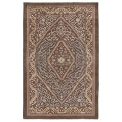Persian Traditional Kurdish Handknotted Rug in Brown and Blue Color