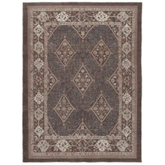 Persian Traditional Kurdish Handknotted Rug in Brown and Ivory Tones