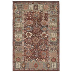Persian Traditional Kurdish Handknotted Rug in Burgundy and Green Color