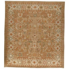 Persian Traditional Kurdish Hand Knotted Rug in Camel and Red Colors