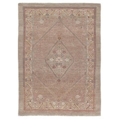 Persian Traditional Kurdish Hand Knotted Rug in Camel and Rust Colors