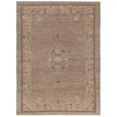 Persian Traditional Kurdish Handknotted Rug in Camel and Rust Colors