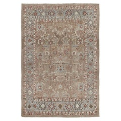 Persian Traditional Kurdish Handknotted Rug in Camel, Pale Blue and Rust Color