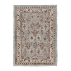 Persian Traditional Kurdish Handknotted Rug in Ivory and Blue Colors