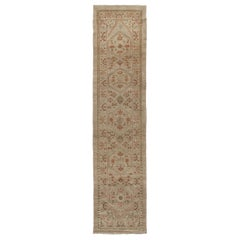 Persian Traditional Kurdish Hand-Knotted Runner in Camel, Green, Rust Colors