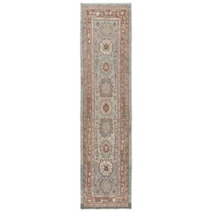 Persian Traditional Kurdish Hand Knotted Runner Rug in Blue,Camel,Rust Colors