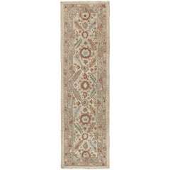 Persian Traditional Kurdish Hand Knotted Runner in Ivory, Camel, and Rust Colors