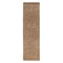 Persian Traditional Kurdish Hand Knotted Runner Rug in Camel, and Rust Color