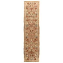 Persian Traditional Kurdish Hand Knotted Runner Rug in Camel and Rust Color