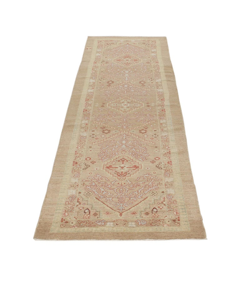 Hand-Knotted Persian Traditional Kurdish Handknotted Runner Rug in Camel and Rust Colors For Sale