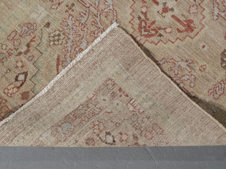 Contemporary Persian Traditional Kurdish Handknotted Runner Rug in Camel and Rust Colors For Sale