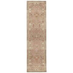 Persian Traditional Kurdish Handknotted Runner Rug in Camel and Rust Color