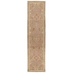 Persian Traditional Kurdish Handknotted Runner Rug in Camel and Rust Colors