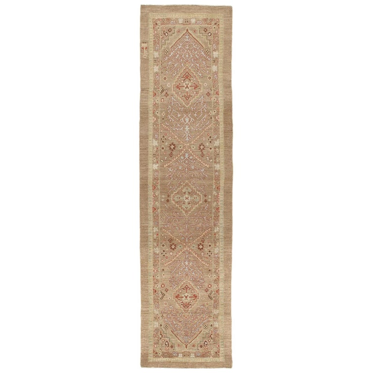Persian Traditional Kurdish Handknotted Runner Rug in Camel and Rust Colors For Sale