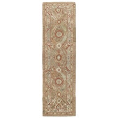 Persian Traditional Kurdish Hand Knotted Runner Rug in Camel, Pale Blue Color