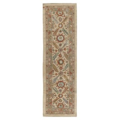 Persian Traditional Kurdish Hand Knotted Runner Rug in Ivory, and Rust Color