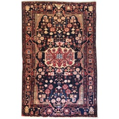 Persian Tribal Hand-Knotted Medallion Hamadan Rug
