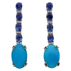 Persian Turquoise 4.0 Carat Natural Ceylon Sapphire Diamond Drop Earrings